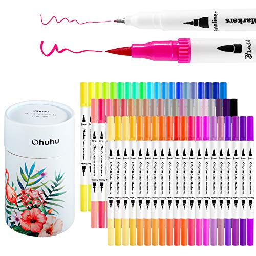 Ohuhu Art Markers Dual Tips Coloring Brush Fineliner Color Pens, 60 Colors of Water Based Marker for Calligraphy Drawing Sketching Coloring Book Bullet Journal Art Mother's Day Back To School Gifts