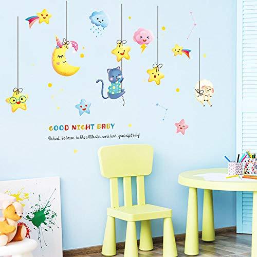 Pegatinas de pared de estrellas de luna de dibujos animados para habitación de niños gato oveja decoración de habitación de bebé animales decoración del hogar arte Stikers Muraux 126X82Cm