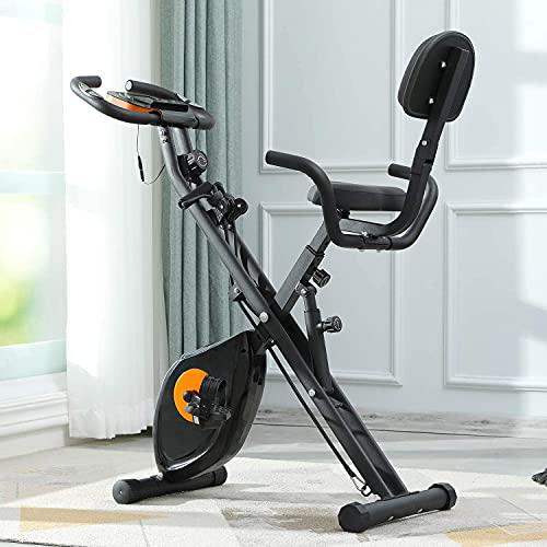 WYLX Bicicleta Estática De Interior para Ejercicios Profesional Bicicleta Vertical Plegable De Forma con Sensores De Pulso De Mano Respaldo Plegable