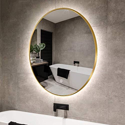 WLABCD Espejo, Baño, Montaje en Pared, Espejo de Maquillaje, Tocador, con Iluminado Led Luz de Oro Claro Enmarcado, Colgando en Vertical,50 cm (19.7 Pulgadas)