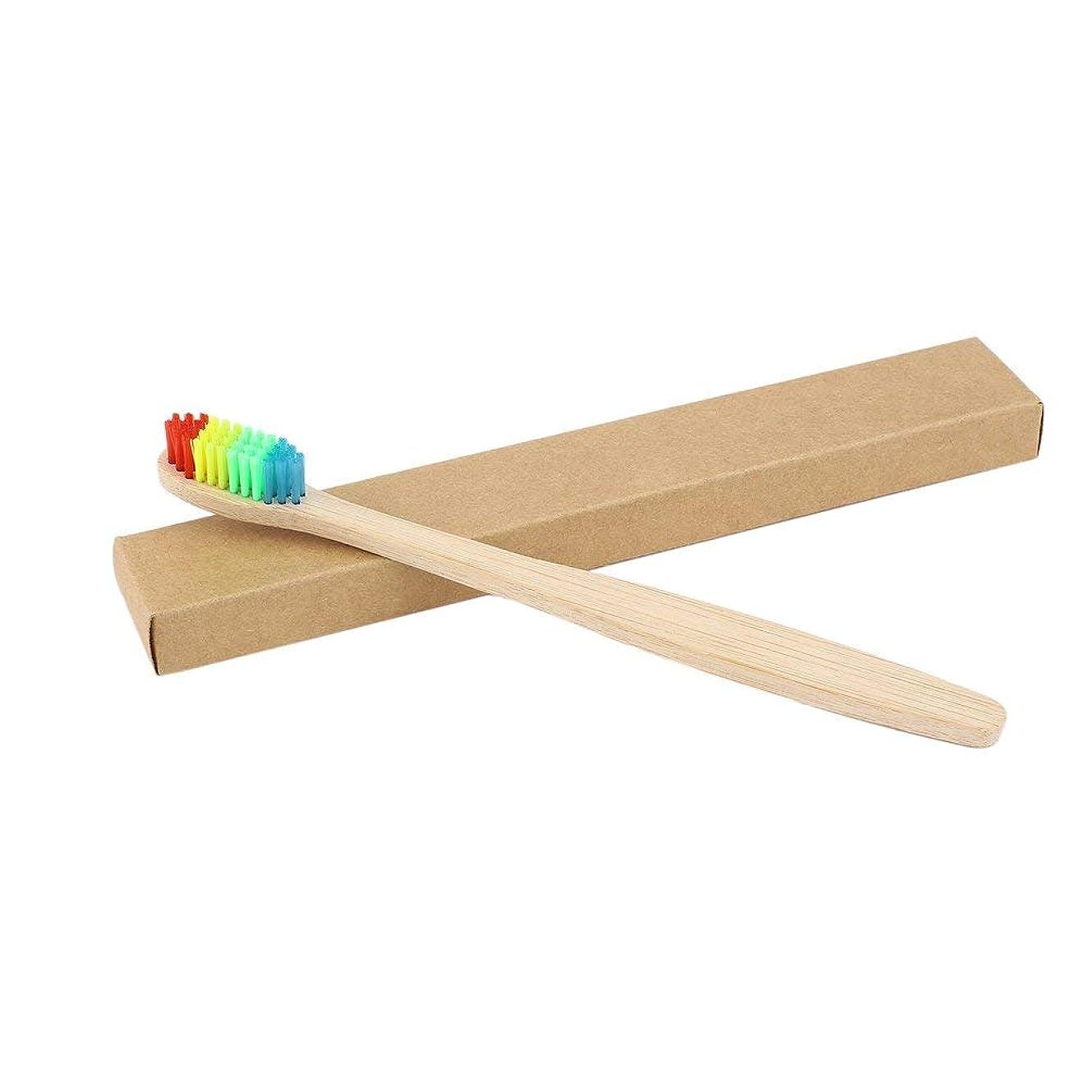 提案フットボール望みカラフルな髪+竹のハンドル歯ブラシ環境木製の虹竹の歯ブラシオーラルケアソフト剛毛ユニセックス - ウッドカラー+カラフル