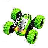 BALALALA Voiture Télécommandée 2.4GHz 4WD Rotation à 360 Degrés,Voiture cascadeuse à Rotation Double Face,Jouet Cadeau pour Enfant Garçon(Vert)
