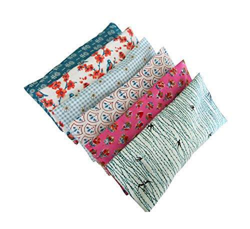 Peacegoods Aromatherapy Yoga Eye Pillow - Pack of (6) - 4.5 x 9 - Organic Lavender Chamomile Flax - Washable Cover Cotton - bulk - pink blue green birds flowers