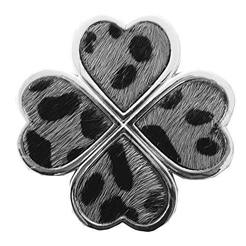 Lolita Magnet Brosche Schal Poncho Taschen Anstecker Kleeblatt mit Fell Leoparden Muster Grau