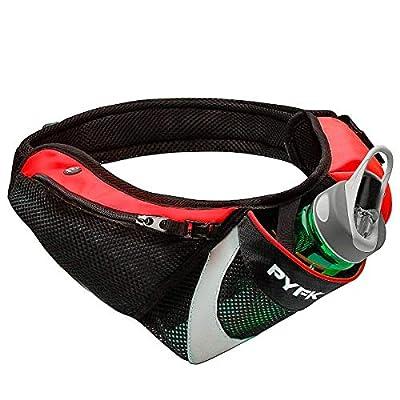 PYFK Running Belt Hydration Waist Pack with Water Bottle Holder for Men Women Waist Pouch Fanny Bag Reflective (Upgrade Red)