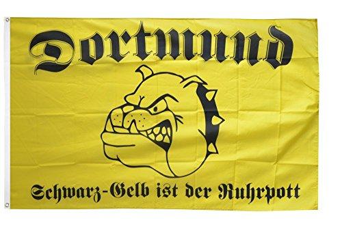 Flaggenfritze Fahne/Flagge Dortmund Bulldogge schwarz-gelber Ruhrpott + gratis Sticker