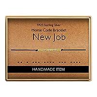Morse Code ブレスレット 仕事用ブレスレット 925スターリングシルバー ハンドメイド 14K純金メッキビーズ 調節可能なストリングブレスレット 新職への誕生日ギフト