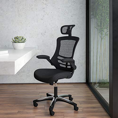 Flash Furniture High-Back Black Mesh Swivel Ergonomic Executive Office Chair with Flip-Up Arms and Adjustable Headrest