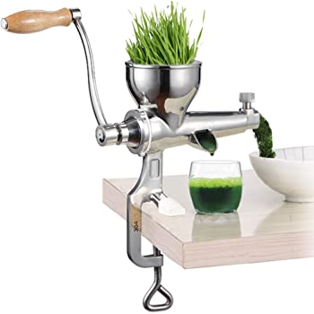 Moongiantgo Manual Wheatgrass Juicer Extractor Stainless Steel Manual Juicer for Juicing Wheat Grass Celery Kale Spinach Parsley Pomegranate Apple Grapes Fruit Vegetable (Upgraded Style)