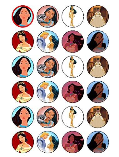 24 x Pocahontas Princesse comestible Cupcake Caketoppers