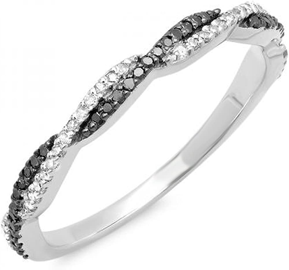 Dazzlingrock Collection 0.25 Carat (ctw) 14K Gold Round Black & White Diamond Ladies Anniversary Wedding Band 1/4 CT