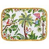 Les Jardins de la Comtesse - Bandeja Rectangular de melamina Pura - Singes de Bali 45 x 32 cm - Rojo y Verde - Gran Bandeja de presentación en Las Esquinas Redondeadas - vajilla irrompible Melartmine