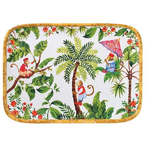 Les Jardins de la Comtesse - Grand Plateau en Mélamine Pure Rouge Corail/Vert - Grand Plateau de Présentation du Service de Table Singes de Bali - Collection Vaisselle MelARTmine - 45x32 cm