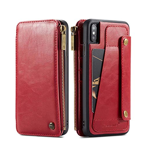 LLGHT Funda de Cuero Compatible con iPhone 12 Pro MAX Funda Cartera 2 En 1 Ranura para Tarjeta Función de Soporte Funda con Tapa Plegable para iPhone 12 Pro MAX (Color : Red, Size : iPhone 11)