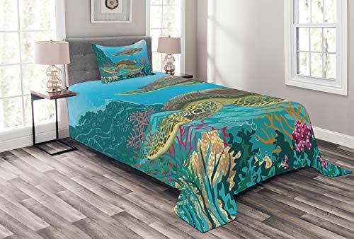 ABAKUHAUS Meerestiere Tagesdecke Set, Sealife Schildkröten im Wasser, Set mit Kissenbezug Klare Farben, für Einselbetten 170 x 220 cm, Mehrfarbig