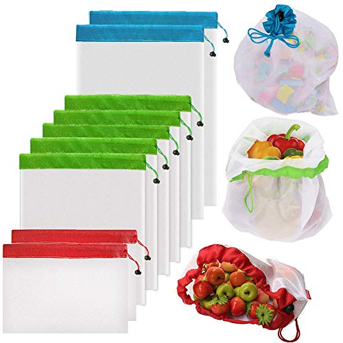 9Pcs Reusable Mesh Produce Bags Berosy Washable Premium SeeThrough Lightweight Mesh Bags for Fruit Vegetable Toys Grocery and Supermarket Shopping Storage 2 Small 5 Medium amp 2 Large