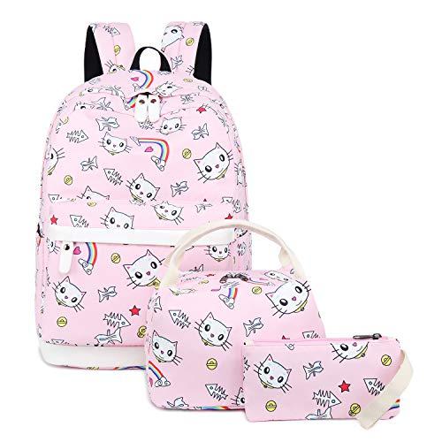 Backpack for School Girls Teens Bookbag Set Kids School Bag 15 inches Laptop Daypack (E0031-Pink)