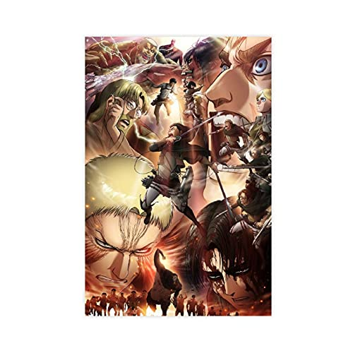 Póster de anime de ataque a los titanes (26) en lienzo para decoración de pared, para sala de estar, dormitorio, decoración sin marco: 40 x 60 cm