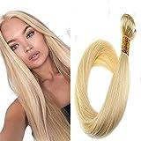 LaaVoo Brazilian Human Hair Weave Bundles Farbe Gebleichtes Blond Tresse Smooth Straight Weft Extensions Echthaar 100Gramm #613 16 Zoll/40cm