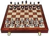 Juego de juegos de mesa de entretenimiento Juegos de ajedrez ajedrez conjunto de caja de regalo de alta gama Set Sólido Madera plegable Tablero de ajedrez Piezas de ajedrez jade occidental para regalo