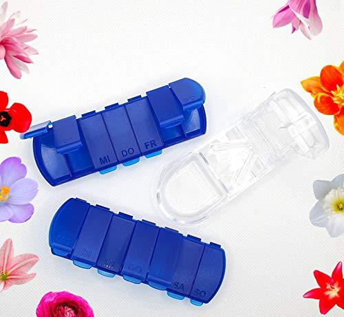 ZEM Pillendose 3er Set – 2x Pillendose + 1x Pillenteiler, Tablettenbox für 7 Tage, Pillenbox, wöchentliche Medikamentenbox, Medikamentendosierer mit Pillenteiler, Pillendose perfekt für Unterwegs