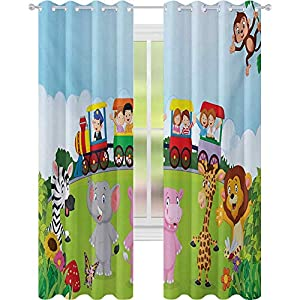 Window Curtains, Kids Nursery Design Happy Children on a Choo Choo Train with Safari Animals Artwork, Grommet Curtains for Window Treatment, Multicolor