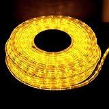 クリスマス イルミネーション 2芯 丸型 防滴 ロープ ライト 1500 LED / 50m イエロー 28種類 コントローラー セット