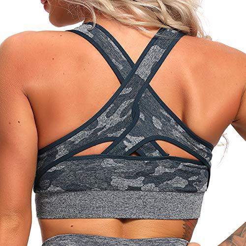 INSTINNCT Damen Sport BH ohne Bügel Gepolstert Yoga Bra Kreuz Rücken Sport Bustier Top für Jogging Fitness Dunkelblau(Tarnungmuster) XS