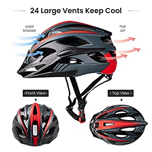SUNRIMOON Adult Bike Helmet for Men Women with Rechargeable USB Light Detachable Visor, Bicycle Cycling Helmet for Road & Mountain Biking Helmets Adjustable Size 22.44-24.42 Inches