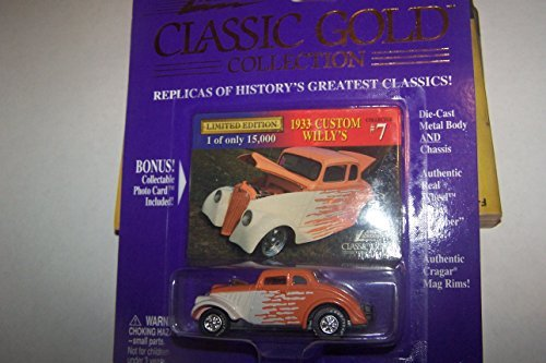 Johnny Lightning Classic Gold Collection White/orange 1933 Custom Willy's Collector 7 Bonus Collectable Photo Card Included by Playing Mantis