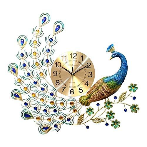 RCHL Decoration Orologio da Parete Orologio da Parete Orologio da Parete Home Decor Cristallo del Pavone Deluxe Soggiorno Orologio Art Deco Mute Parete