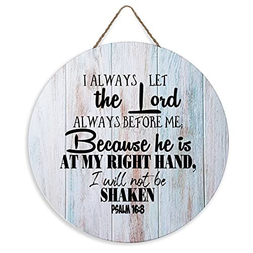 Christian Scripture Hanging Wall Sign, I Have Set The Lord Always Before Me, Psalm 16:8 Vintage...