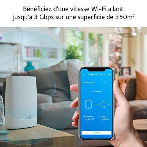 NETGEAR Orbi RBK50-100PES Solution Wifi Unique Mesh Multi-Room AC3000 - Compatible avec Alexa