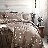 Eikei Home French Country Garden Toile Floral Printed Duvet Quilt Cover Cotton Bedding Set Asian Style Tapestry Pattern Chinoiserie Peony Blossom Tree Branches Multicolored Design (King, Grey Fog)