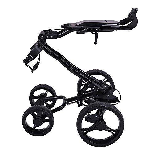 PQXOER Golfwagen Trolley 4 Wheels Golf Faltbarer Golfbag Push Cart mit Bremse Golftrolley