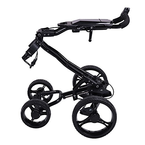 PQXOER Golfwagen Trolley 4 Wheels Golf Faltbarer Golfbag Push Cart mit Bremse Golftrolley