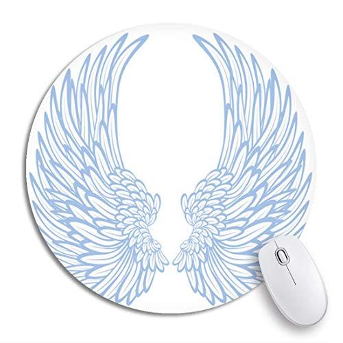Round Mouse Pad Angel Paar Flügel Eagle Feather Hawk Bird Side rutschfeste Gummibasis Mausmatte Gaming Mousepad für Computer