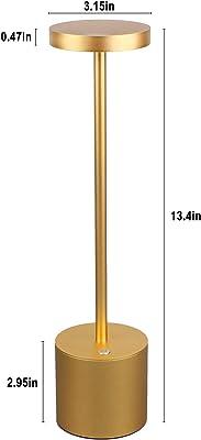 Cordless Table Lamp, Modern USB Charging 4W 150lm 3100k LED Desk Lamp 2600mAh 2-Level Dimming Eye Protection Warm Light Reading Lamp Bedroom Study Restaurant Aluminum Bedside Lamp, Gold