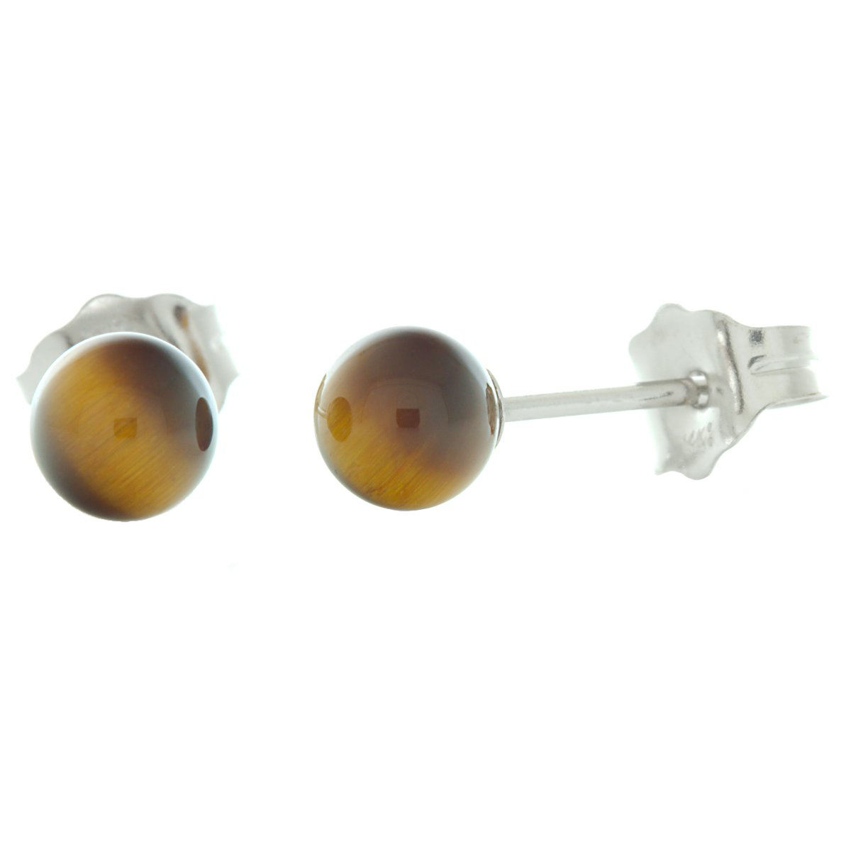 Trustmark 14K Animer and price revision White Gold 4mm Natural Ball Tigers Stud Max 63% OFF Eye Earrin