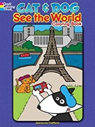 Cat and dog see the world cat coloring book for adults