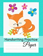 Handwriting Paper: Handwriting Practice Paper for Grades 2-5; Cursive Writing Practice Notebook; 1/2 Inch Wide Lines w Dashes in the Middle; Great for Homeschooling; Fox Design