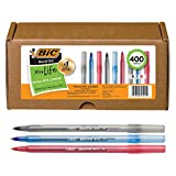 BIC Round Stic Xtra Life Ballpoint Pen, Medium Point (1.0mm), Black/Red/Blue -- Box of 400 Assorted Ball Pens