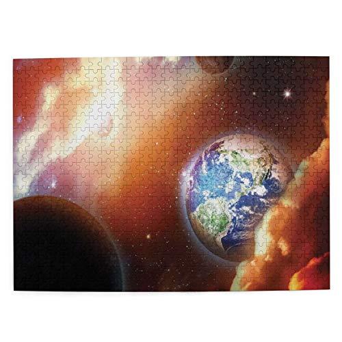 Adulto 500 Piezas Juego de Rompecabezas Estrellas de la nebulosa de la nube de polvo en la escena del sistema solar con el planeta Tierra Plutón y Juguetes Educativos Para Niños Decoración hogareña