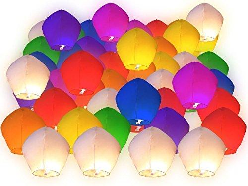 Lot de 50 Lanternes volantes multicolors colorées chinoise fête soirée mariage romantique évenement festival luminaire en plein air ciel