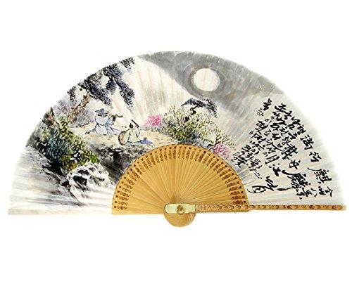 Antique Alive Peintures à la main représentant deux musiciens dans des montagnes coréennes en papier de riz blanc de bambou