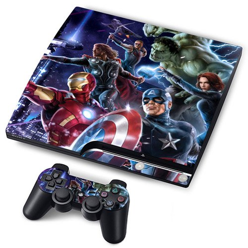 Funky Planet PS3 Oryginal Playstation Pegatinas de PVC para la Consola + 2 Controladores Decal Protector Arte (Clown) (Heroes)