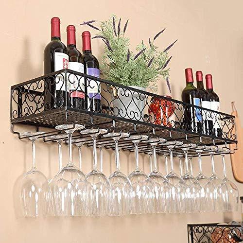 BGHDIDDDDD Estante organizador de vino de metal para colgar en la pared, para copas de vino, champán, cristal, para colgar en la pared, listo para montar para bares, restaurantes, cocinas, 100 cm