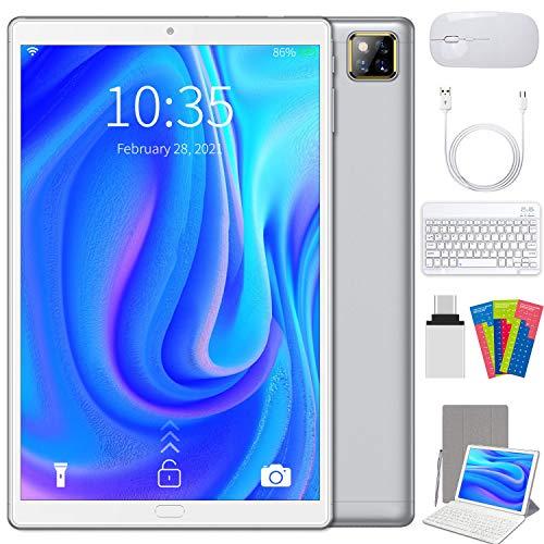 Tablet 10.1 Pollici 5G WIFI Android 10, 4GB RAM + 64GB ROM, 128GB Espandibili,Tablet PC con Quad-Core 1.6GHz , Batteria 6000mAh,1280*800,Bluetooth OTG TYPE-C,Con Tastiera Bluetooth(Argento)