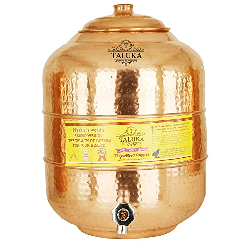 Taluka Copper Water Pot Matka Pitcher Tank 541 Oz Capacity 16000 ML for Storage For Drinking Water Ayurvedic Benefits Dispenser For Home & Kitchen