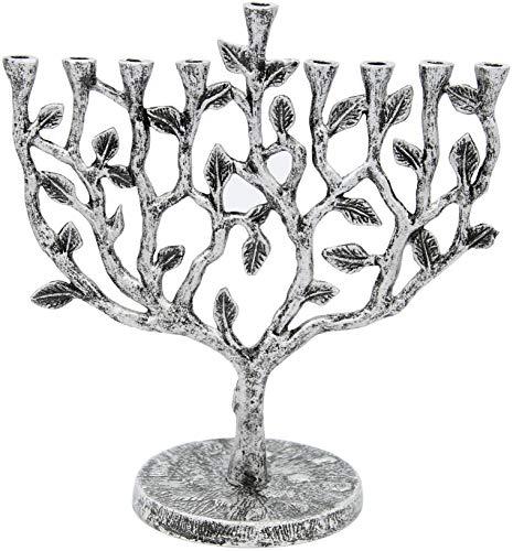 The Dreidel Company Menorah Tree of Life Antique Silver and Gold Finish, Tree of Life Antique Silver Finish